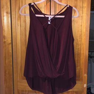 Open Front Plum Sleeveless Shirt